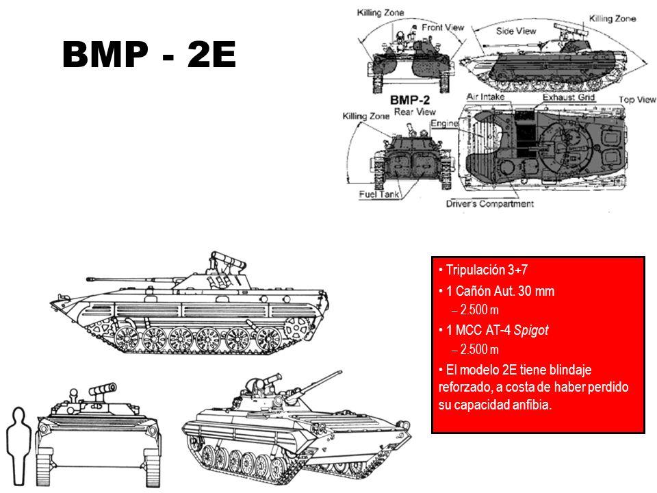 BMP - 2E Tripulación 3+7 1 Cañón Aut. 30 mm – 2.500 m 1 MCC AT-4 Spigot – 2.500 m El modelo 2E tiene blindaje reforzado, a costa de haber perdido su c