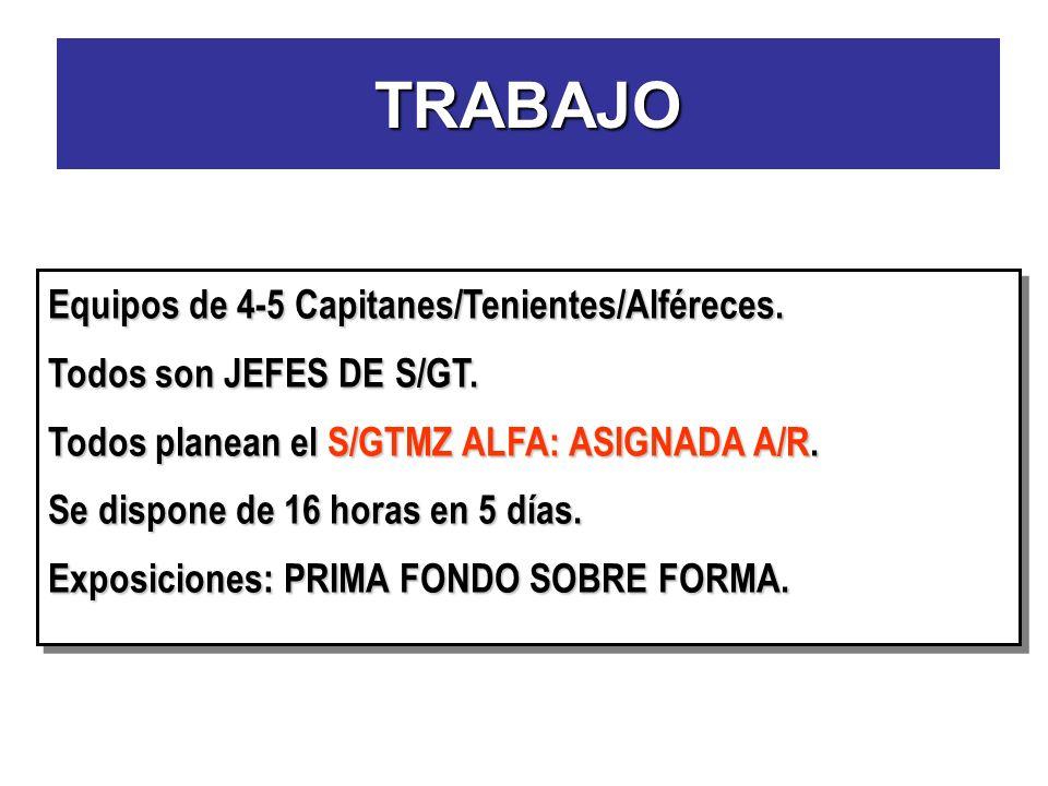TRABAJO Equipos de 4-5 Capitanes/Tenientes/Alféreces. Todos son JEFES DE S/GT. Todos planean el S/GTMZ ALFA: ASIGNADA A/R. Se dispone de 16 horas en 5