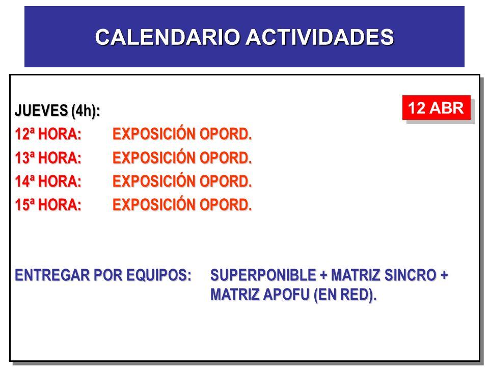JUEVES (4h): 12ª HORA:EXPOSICIÓN OPORD. 13ª HORA:EXPOSICIÓN OPORD. 14ª HORA:EXPOSICIÓN OPORD. 15ª HORA:EXPOSICIÓN OPORD. ENTREGAR POR EQUIPOS:SUPERPON