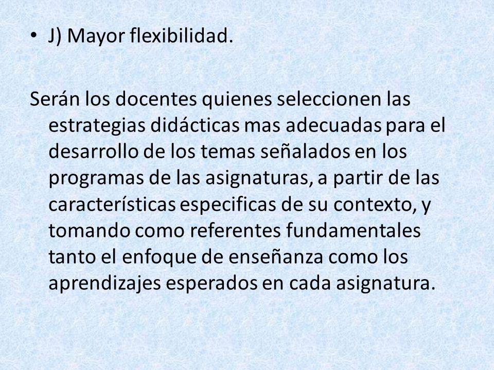 J) Mayor flexibilidad. Serán los docentes quienes seleccionen las estrategias didácticas mas adecuadas para el desarrollo de los temas señalados en lo