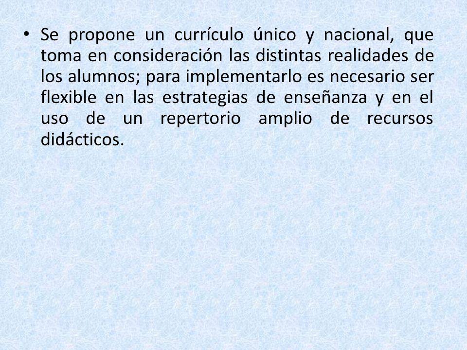 Se propone un currículo único y nacional, que toma en consideración las distintas realidades de los alumnos; para implementarlo es necesario ser flexi
