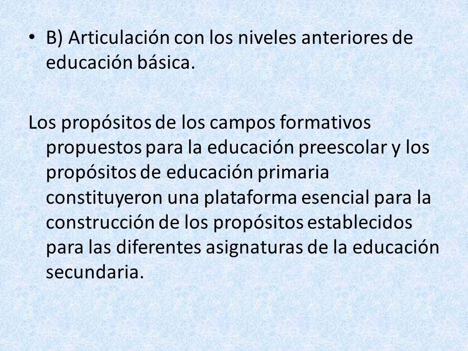 B) Articulación con los niveles anteriores de educación básica. Los propósitos de los campos formativos propuestos para la educación preescolar y los