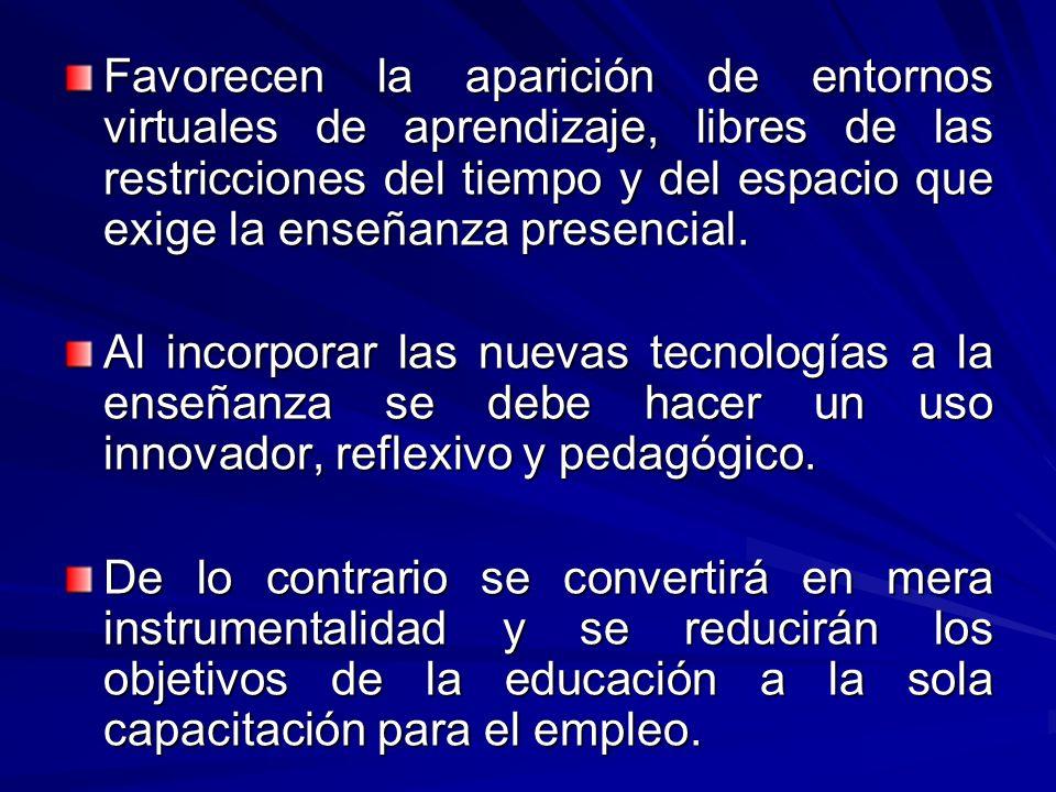 Modalidades de integración curricular de las Nuevas Tecnologías.