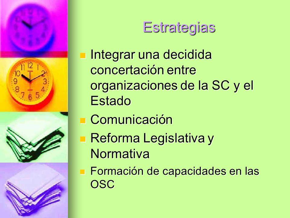 Estrategias Integrar una decidida concertación entre organizaciones de la SC y el Estado Integrar una decidida concertación entre organizaciones de la