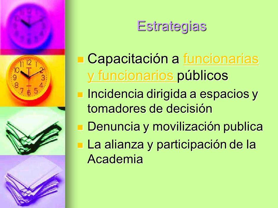Estrategias Capacitación a funcionarias y funcionarios públicos Capacitación a funcionarias y funcionarios públicosfuncionarias y funcionarios funcion
