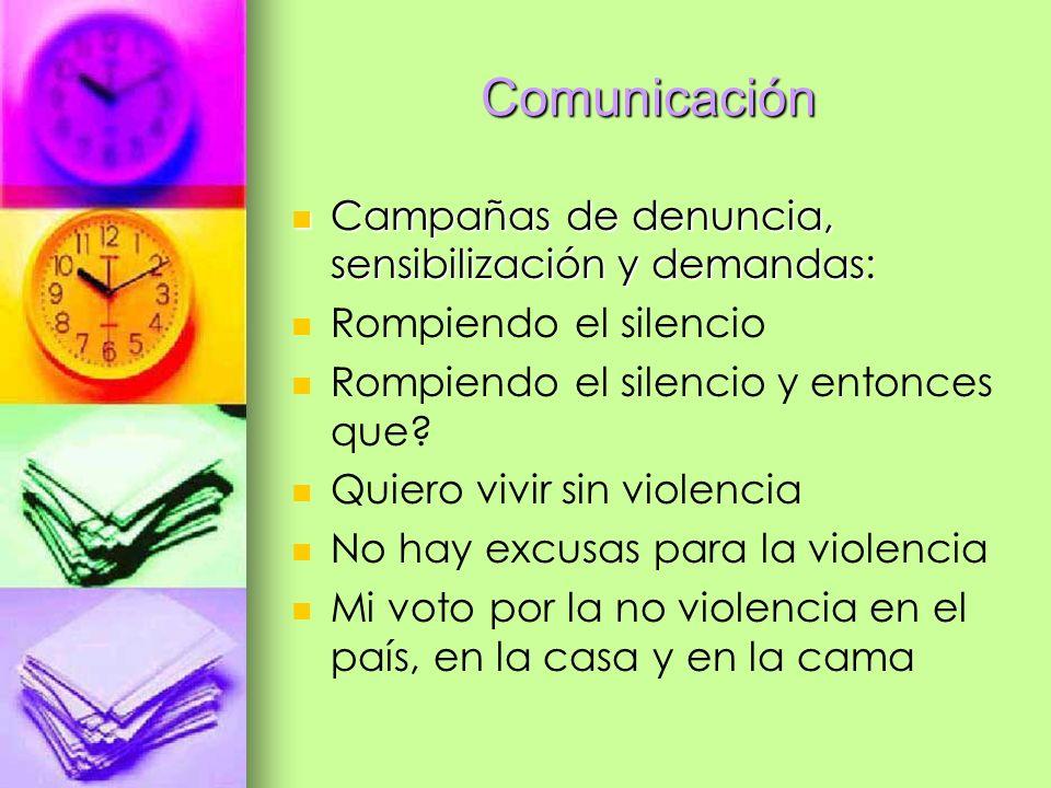 Comunicación Campañas de denuncia, sensibilización y demandas: Campañas de denuncia, sensibilización y demandas: Rompiendo el silencio Rompiendo el si