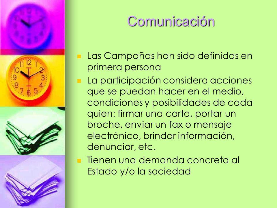 Comunicación Las Campañas han sido definidas en primera persona La participación considera acciones que se puedan hacer en el medio, condiciones y pos
