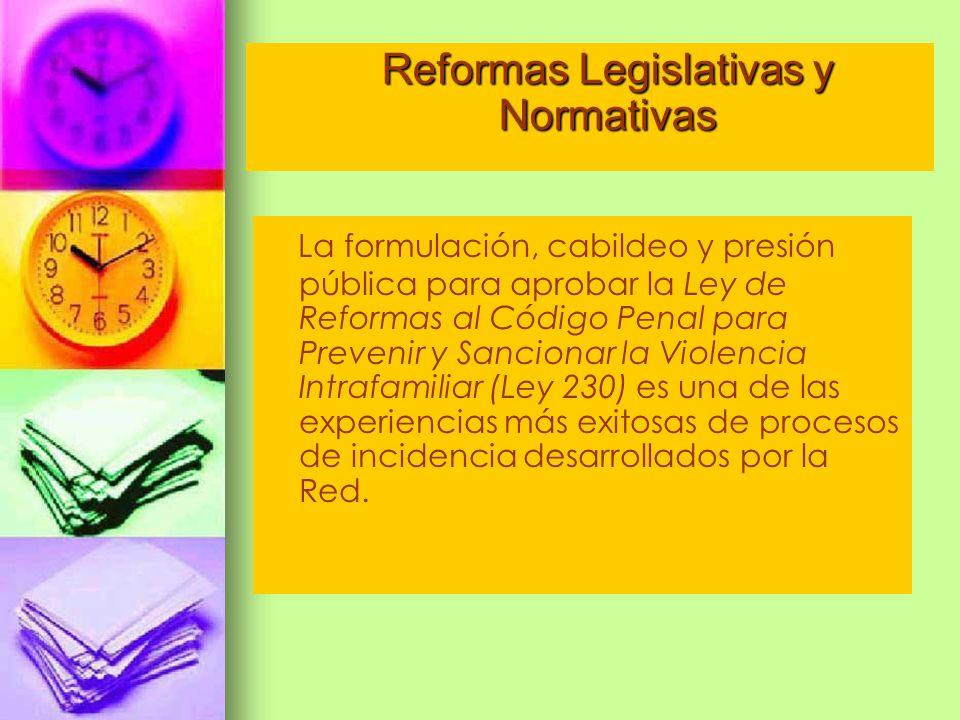La formulación, cabildeo y presión pública para aprobar la Ley de Reformas al Código Penal para Prevenir y Sancionar la Violencia Intrafamiliar (Ley 2