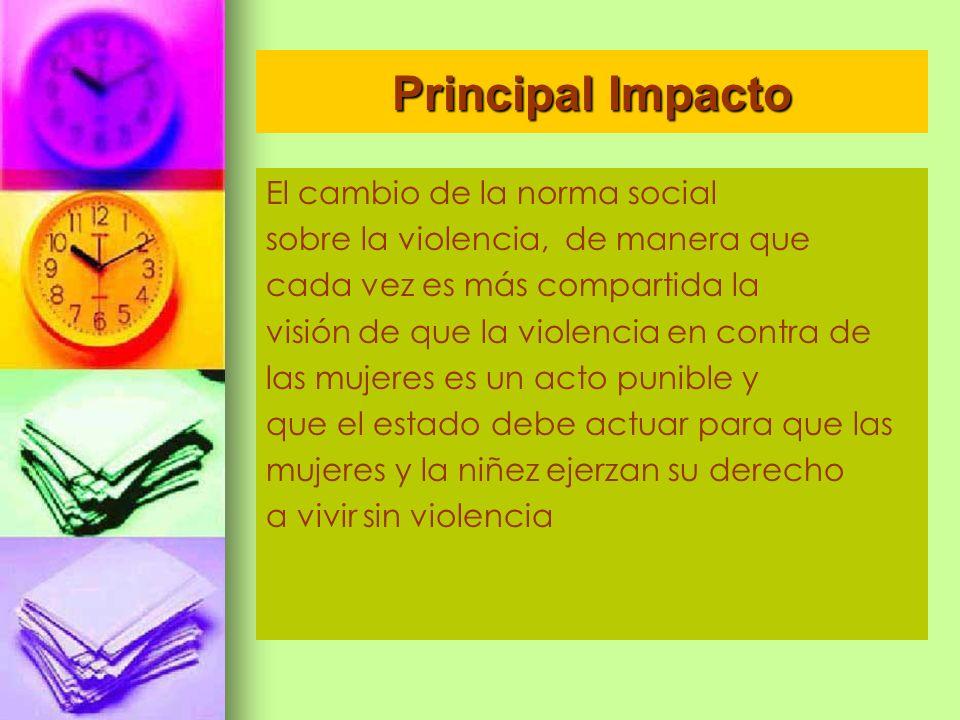 Principal Impacto El cambio de la norma social sobre la violencia, de manera que cada vez es más compartida la visión de que la violencia en contra de