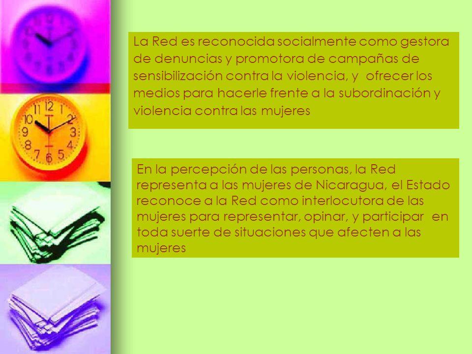 La Red es reconocida socialmente como gestora de denuncias y promotora de campañas de sensibilización contra la violencia, y ofrecer los medios para h