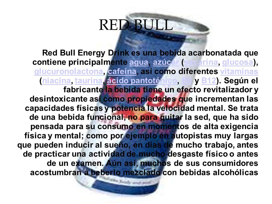 RED BULL Red Bull Energy Drink es una bebida acarbonatada que contiene principalmente agua, azúcar (sacarina, glucosa), glucuronolactona, cafeína, así