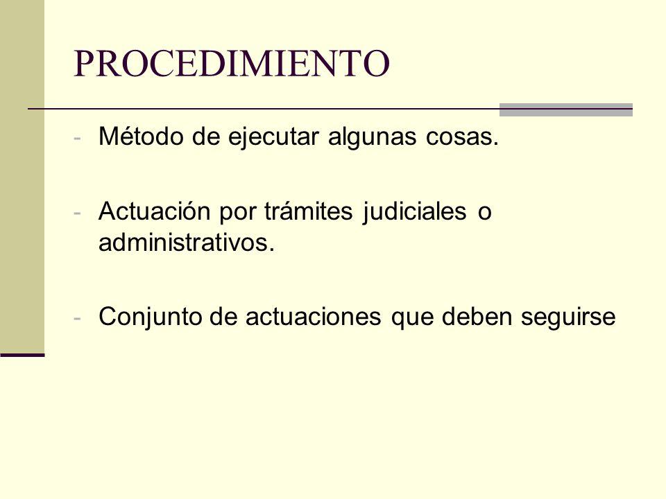PROCEDIMIENTO - Método de ejecutar algunas cosas. - Actuación por trámites judiciales o administrativos. - Conjunto de actuaciones que deben seguirse