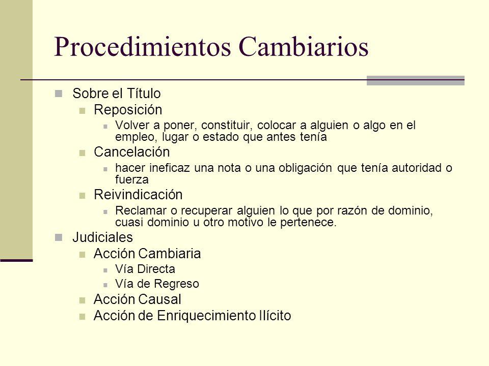 Procedimientos Cambiarios Sobre el Título Reposición Volver a poner, constituir, colocar a alguien o algo en el empleo, lugar o estado que antes tenía