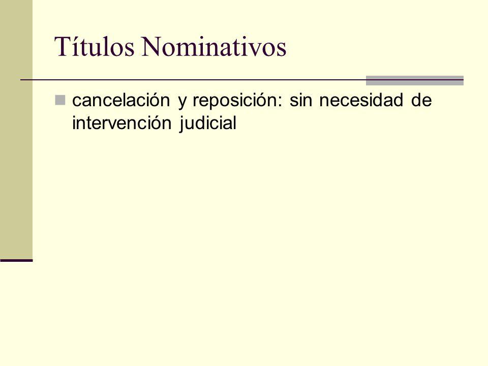 Títulos Nominativos cancelación y reposición: sin necesidad de intervención judicial