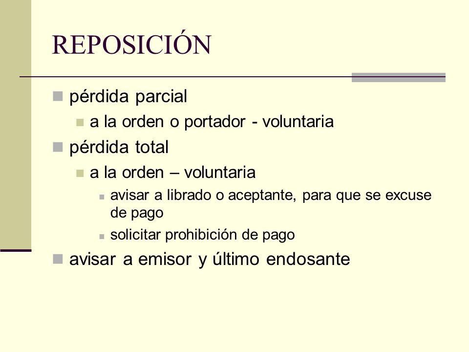 REPOSICIÓN pérdida parcial a la orden o portador - voluntaria pérdida total a la orden – voluntaria avisar a librado o aceptante, para que se excuse d
