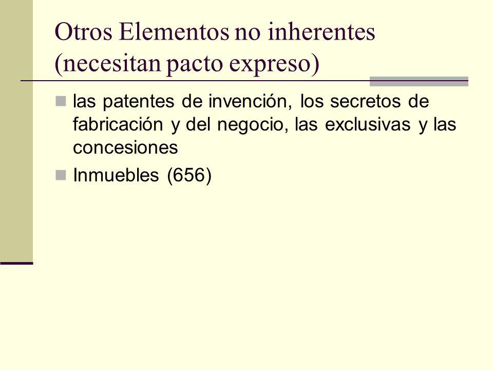 Otros Elementos no inherentes (necesitan pacto expreso) las patentes de invención, los secretos de fabricación y del negocio, las exclusivas y las con