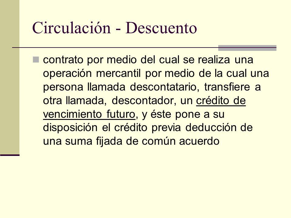 Circulación - Descuento contrato por medio del cual se realiza una operación mercantil por medio de la cual una persona llamada descontatario, transfi