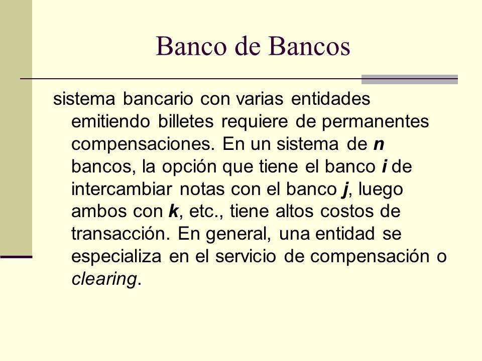 Banco de Bancos sistema bancario con varias entidades emitiendo billetes requiere de permanentes compensaciones.