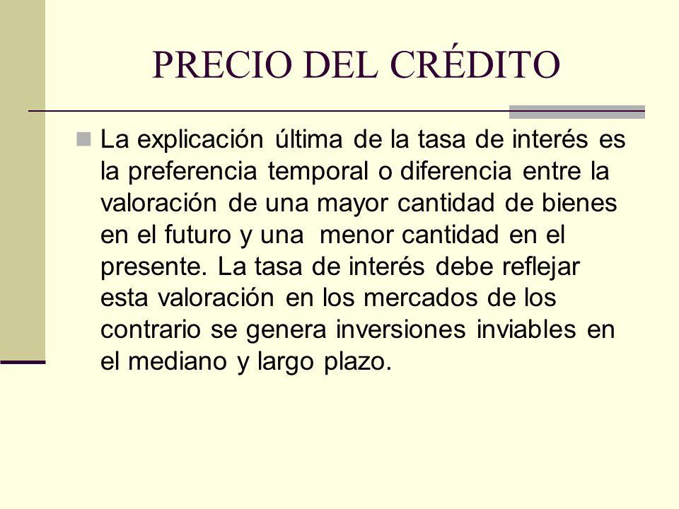 PRECIO DEL CRÉDITO La explicación última de la tasa de interés es la preferencia temporal o diferencia entre la valoración de una mayor cantidad de bienes en el futuro y una menor cantidad en el presente.