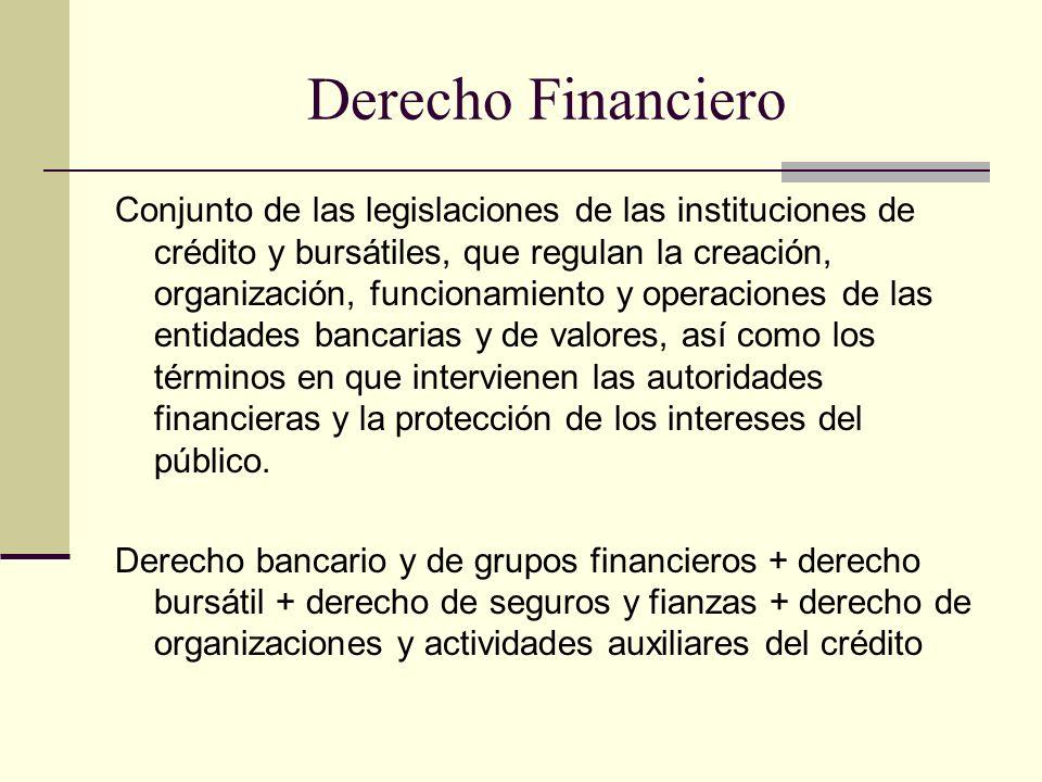 Derecho Financiero Conjunto de las legislaciones de las instituciones de crédito y bursátiles, que regulan la creación, organización, funcionamiento y operaciones de las entidades bancarias y de valores, así como los términos en que intervienen las autoridades financieras y la protección de los intereses del público.