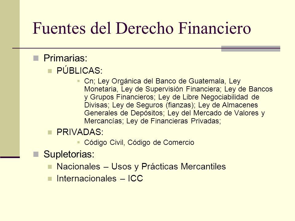 Fuentes del Derecho Financiero Primarias: PÚBLICAS: Cn; Ley Orgánica del Banco de Guatemala, Ley Monetaria, Ley de Supervisión Financiera; Ley de Bancos y Grupos Financieros; Ley de Libre Negociabilidad de Divisas; Ley de Seguros (fianzas); Ley de Almacenes Generales de Depósitos; Ley del Mercado de Valores y Mercancías; Ley de Financieras Privadas; PRIVADAS: Código Civil, Código de Comercio Supletorias: Nacionales – Usos y Prácticas Mercantiles Internacionales – ICC