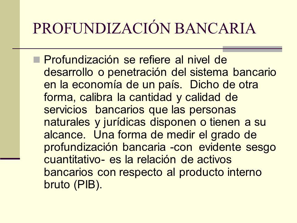 PROFUNDIZACIÓN BANCARIA Profundización se refiere al nivel de desarrollo o penetración del sistema bancario en la economía de un país.