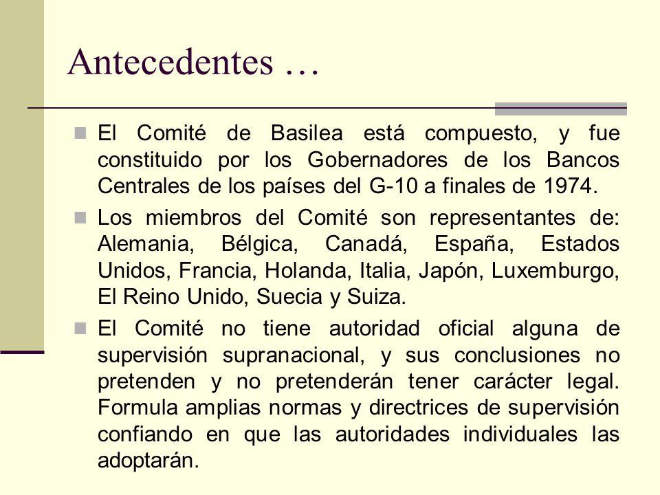 El Comité de Basilea está compuesto, y fue constituido por los Gobernadores de los Bancos Centrales de los países del G-10 a finales de 1974.