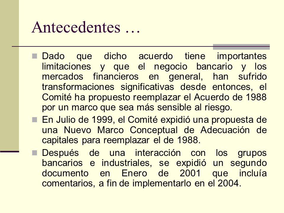 Antecedentes … Dado que dicho acuerdo tiene importantes limitaciones y que el negocio bancario y los mercados financieros en general, han sufrido transformaciones significativas desde entonces, el Comité ha propuesto reemplazar el Acuerdo de 1988 por un marco que sea más sensible al riesgo.