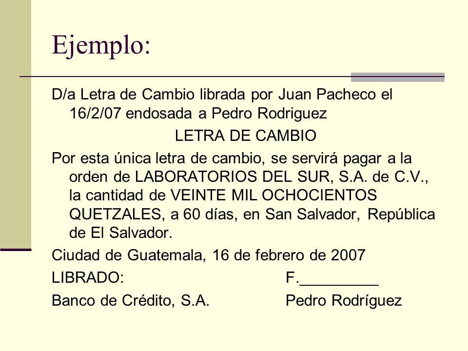 Ejemplo: D/a Letra de Cambio librada por Juan Pacheco el 16/2/07 endosada a Pedro Rodriguez LETRA DE CAMBIO Por esta única letra de cambio, se servirá pagar a la orden de LABORATORIOS DEL SUR, S.A.