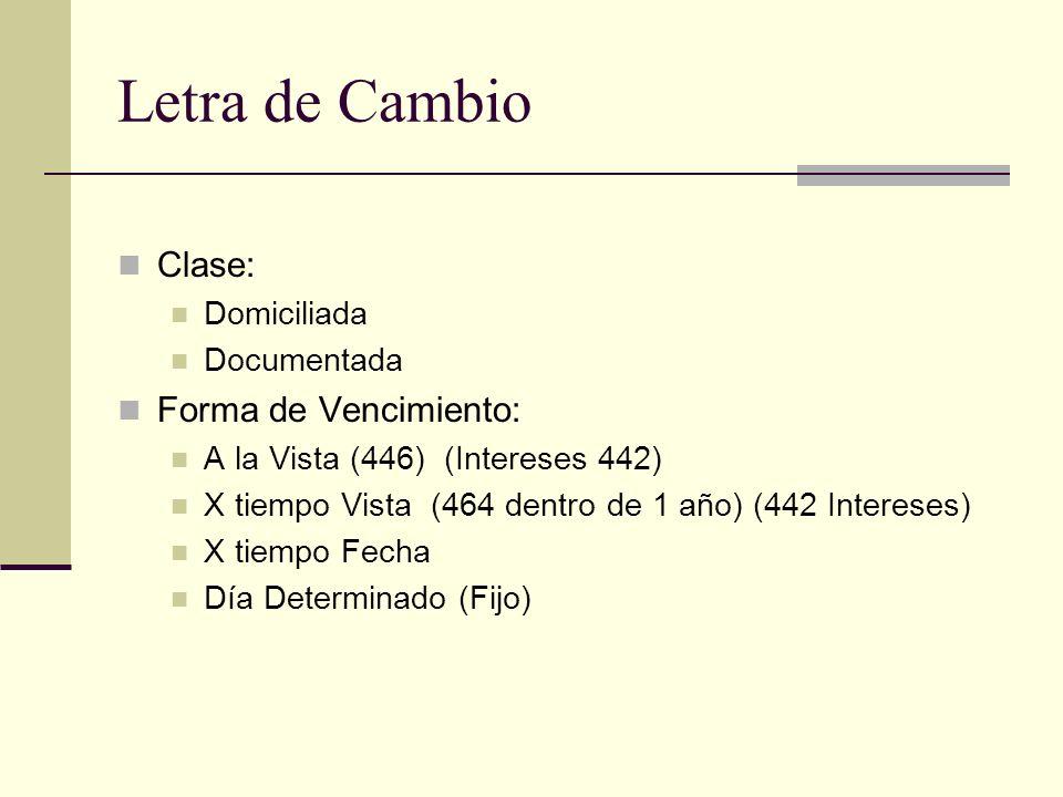 Letra de Cambio Clase: Domiciliada Documentada Forma de Vencimiento: A la Vista (446) (Intereses 442) X tiempo Vista (464 dentro de 1 año) (442 Intereses) X tiempo Fecha Día Determinado (Fijo)