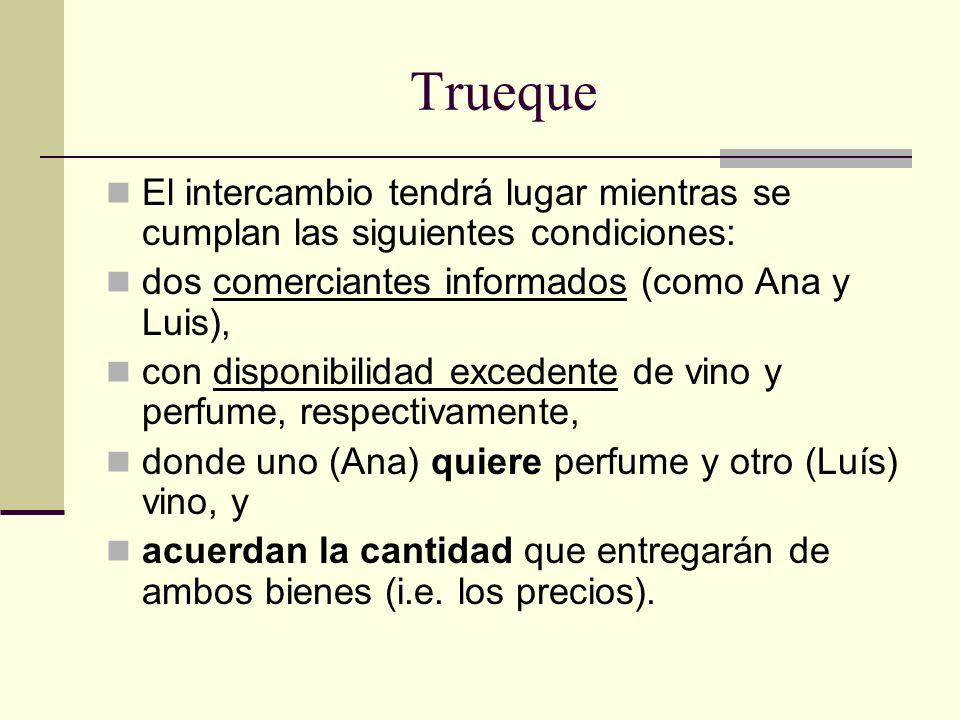 Trueque El intercambio tendrá lugar mientras se cumplan las siguientes condiciones: dos comerciantes informados (como Ana y Luis), con disponibilidad