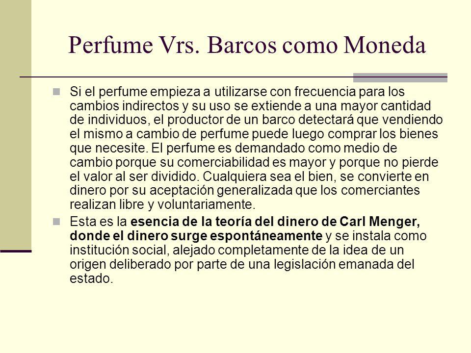 Perfume Vrs. Barcos como Moneda Si el perfume empieza a utilizarse con frecuencia para los cambios indirectos y su uso se extiende a una mayor cantida