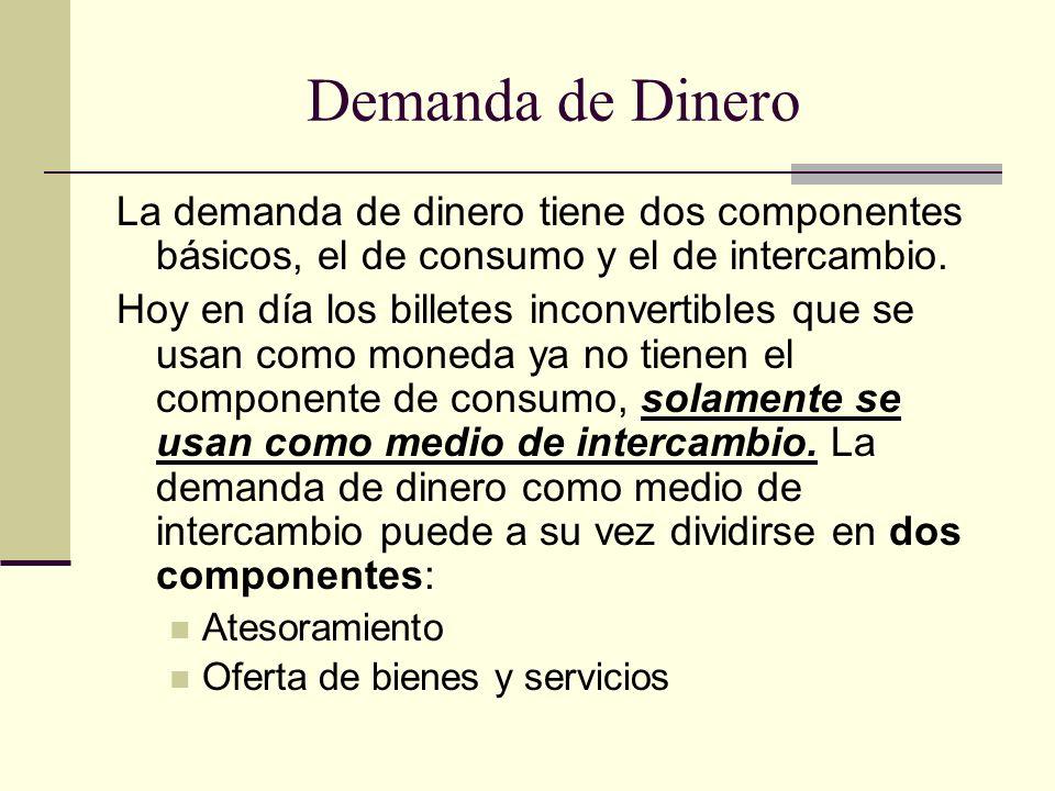 Demanda de Dinero La demanda de dinero tiene dos componentes básicos, el de consumo y el de intercambio. Hoy en día los billetes inconvertibles que se