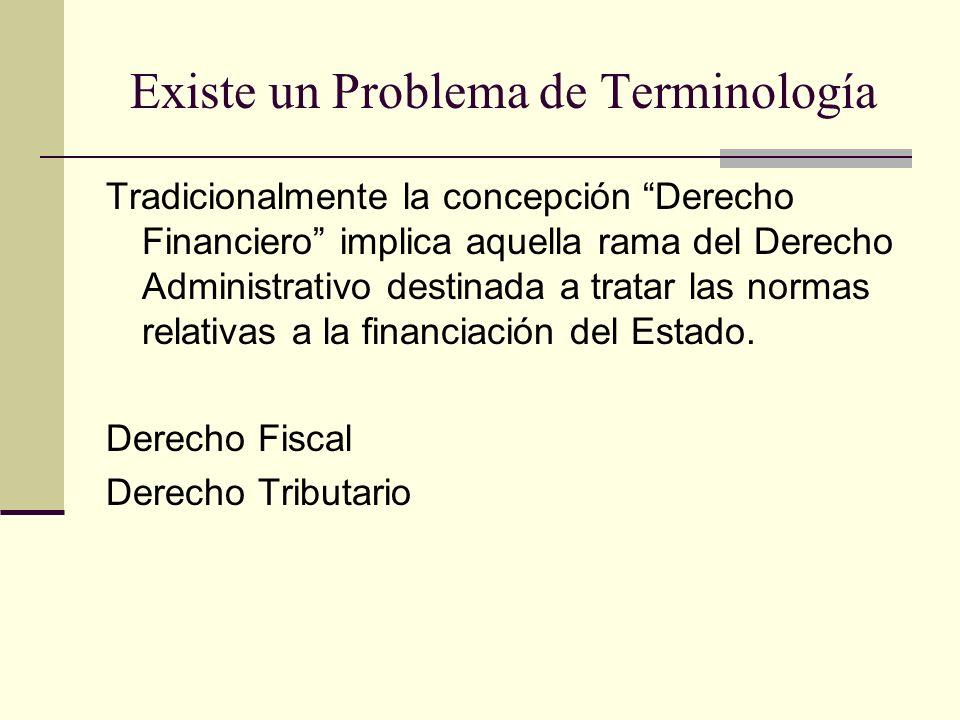 Existe un Problema de Terminología Tradicionalmente la concepción Derecho Financiero implica aquella rama del Derecho Administrativo destinada a trata