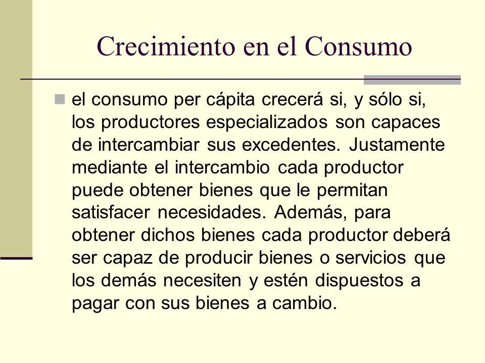 Crecimiento en el Consumo el consumo per cápita crecerá si, y sólo si, los productores especializados son capaces de intercambiar sus excedentes. Just