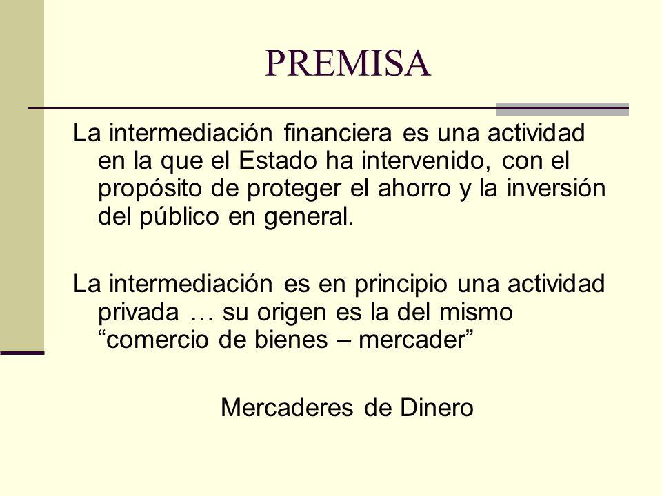 PREMISA La intermediación financiera es una actividad en la que el Estado ha intervenido, con el propósito de proteger el ahorro y la inversión del pú