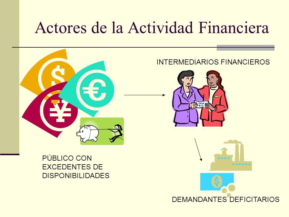 Actores de la Actividad Financiera PÚBLICO CON EXCEDENTES DE DISPONIBILIDADES INTERMEDIARIOS FINANCIEROS DEMANDANTES DEFICITARIOS