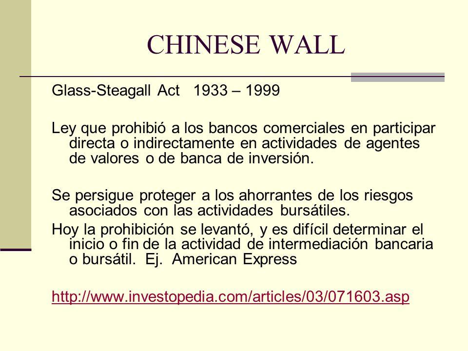 Glass-Steagall Act 1933 – 1999 Ley que prohibió a los bancos comerciales en participar directa o indirectamente en actividades de agentes de valores o