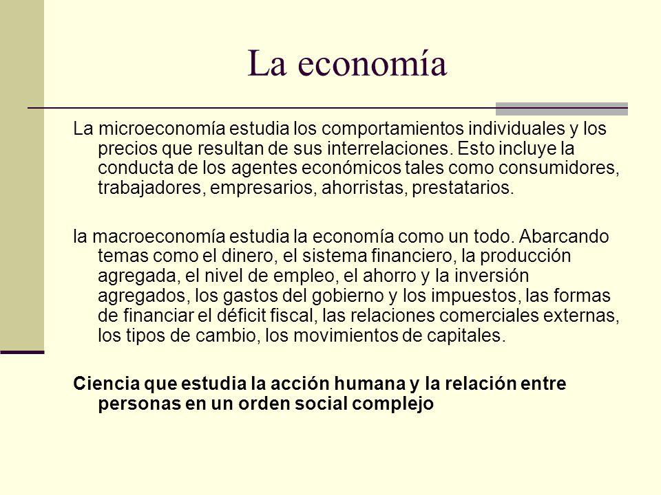 La economía La microeconomía estudia los comportamientos individuales y los precios que resultan de sus interrelaciones. Esto incluye la conducta de l