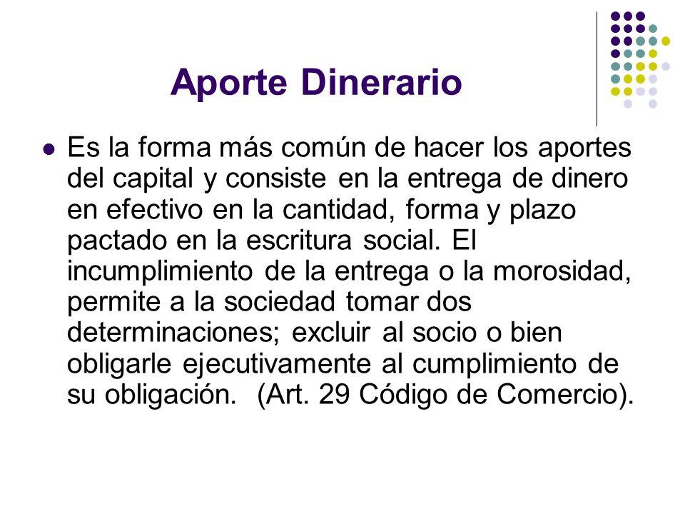 Aporte Dinerario Es la forma más común de hacer los aportes del capital y consiste en la entrega de dinero en efectivo en la cantidad, forma y plazo p