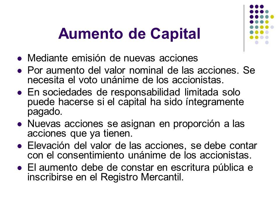 Aumento de Capital Mediante emisión de nuevas acciones Por aumento del valor nominal de las acciones. Se necesita el voto unánime de los accionistas.
