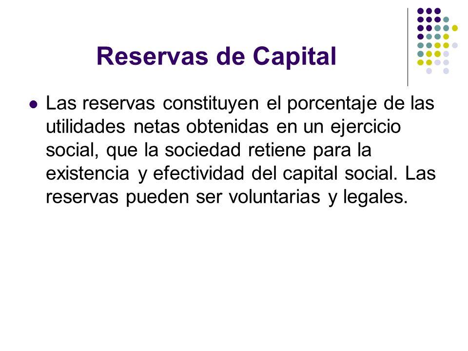 Reservas de Capital Las reservas constituyen el porcentaje de las utilidades netas obtenidas en un ejercicio social, que la sociedad retiene para la e