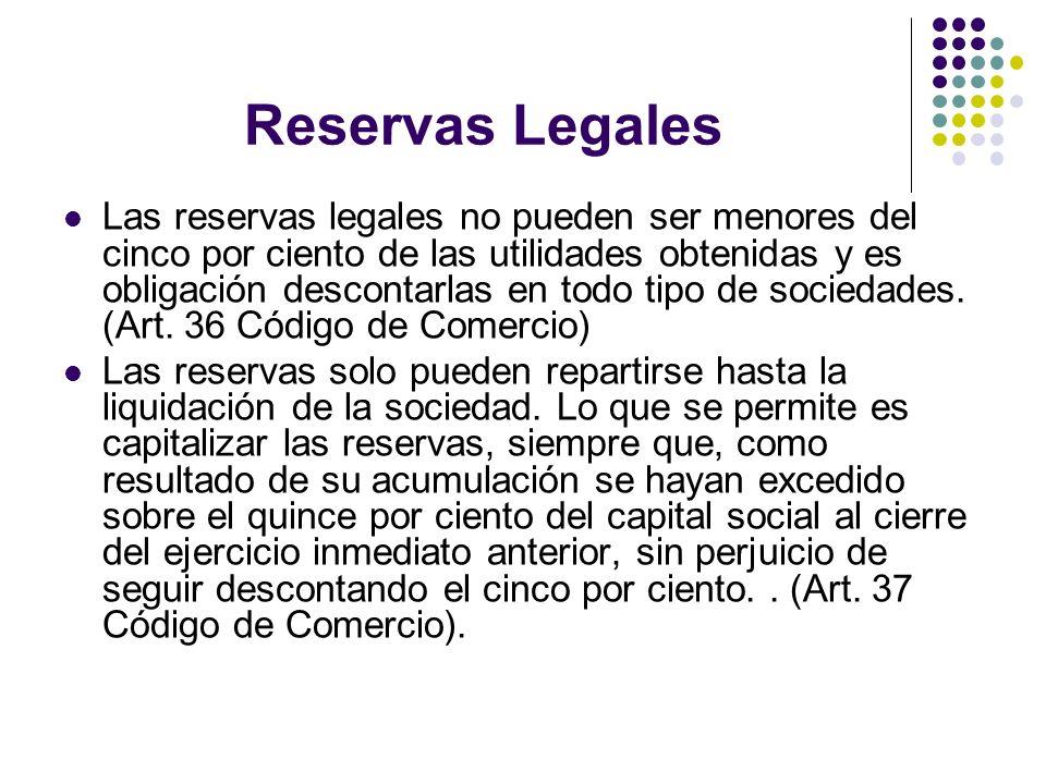 Reservas Legales Las reservas legales no pueden ser menores del cinco por ciento de las utilidades obtenidas y es obligación descontarlas en todo tipo