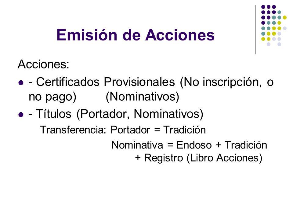Emisión de Acciones Acciones: - Certificados Provisionales (No inscripción, o no pago) (Nominativos) - Títulos (Portador, Nominativos) Transferencia:
