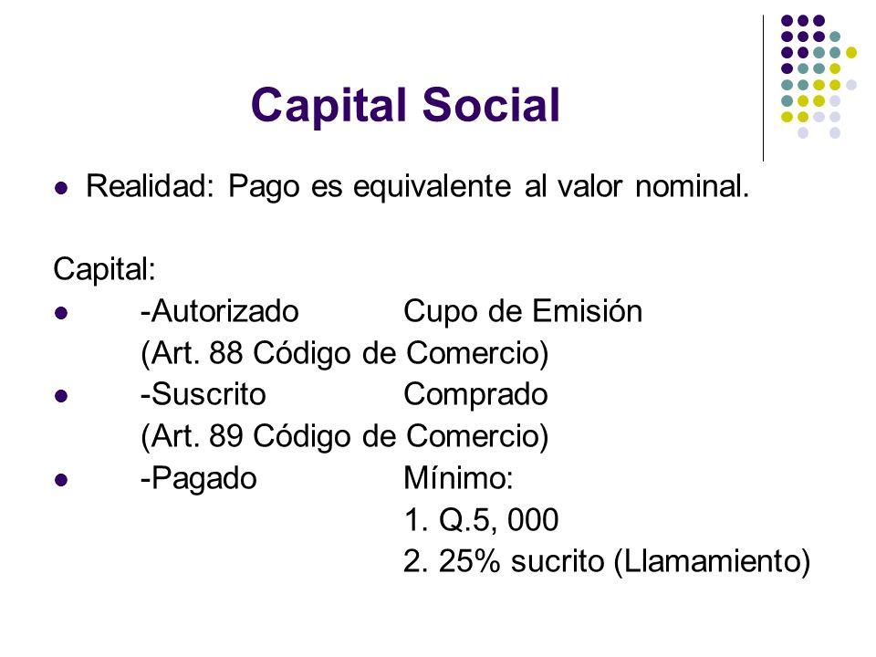 Capital Social Realidad: Pago es equivalente al valor nominal. Capital: -Autorizado Cupo de Emisión (Art. 88 Código de Comercio) -Suscrito Comprado (A