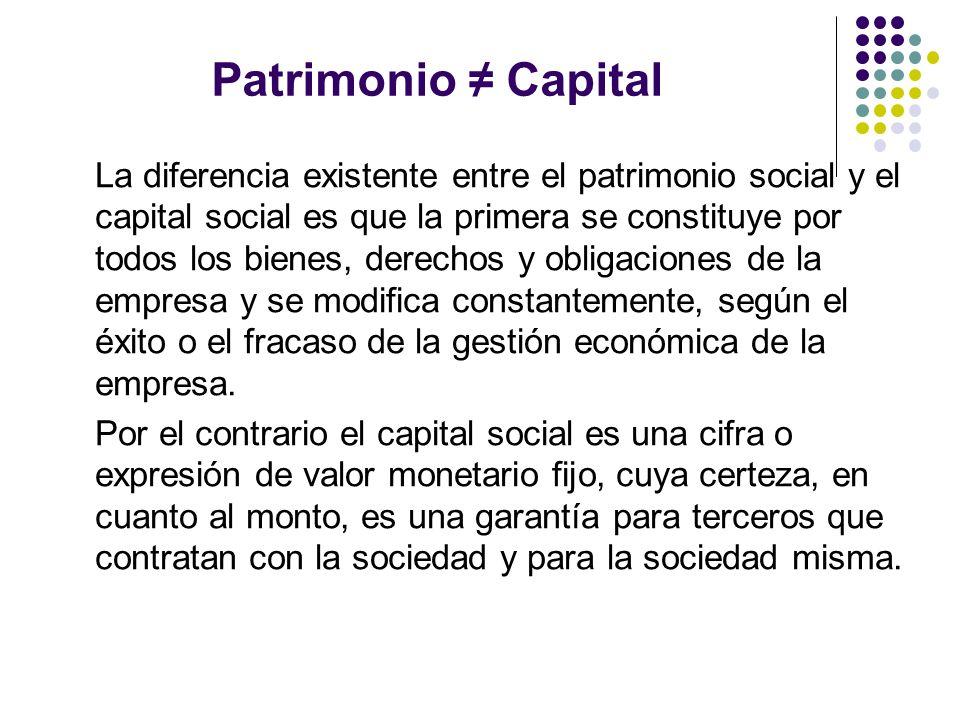 Patrimonio Capital La diferencia existente entre el patrimonio social y el capital social es que la primera se constituye por todos los bienes, derech