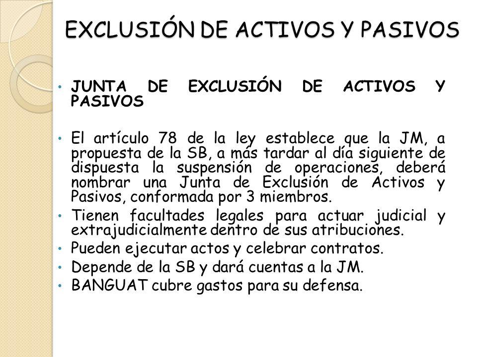 EXCLUSIÓN DE ACTIVOS Y PASIVOS JUNTA DE EXCLUSIÓN DE ACTIVOS Y PASIVOS El artículo 78 de la ley establece que la JM, a propuesta de la SB, a más tarda