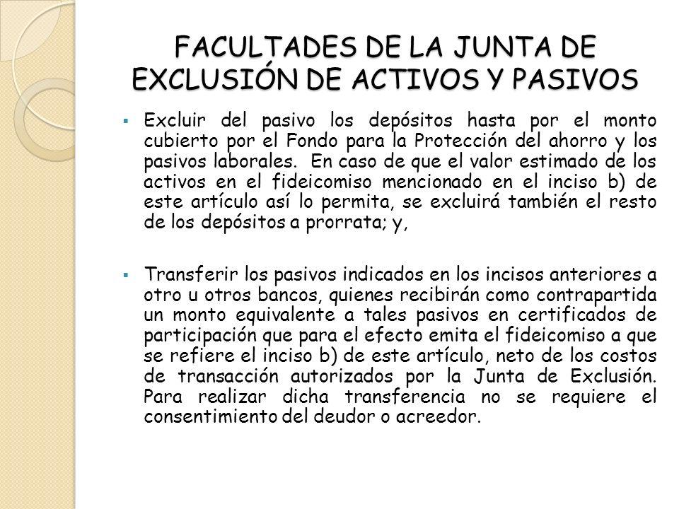 FACULTADES DE LA JUNTA DE EXCLUSIÓN DE ACTIVOS Y PASIVOS Excluir del pasivo los depósitos hasta por el monto cubierto por el Fondo para la Protección