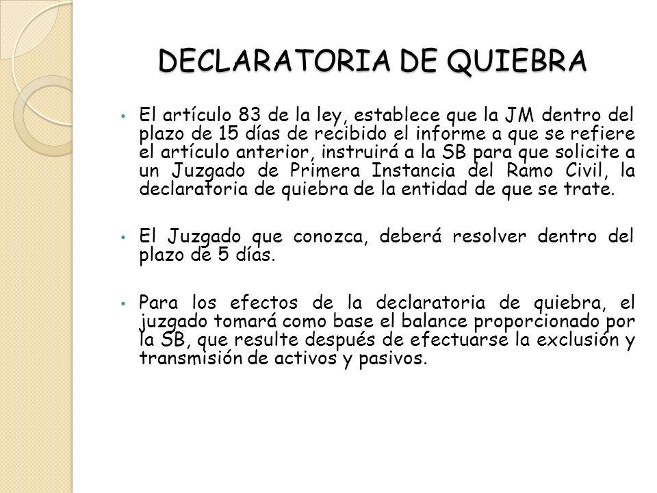 DECLARATORIA DE QUIEBRA El artículo 83 de la ley, establece que la JM dentro del plazo de 15 días de recibido el informe a que se refiere el artículo