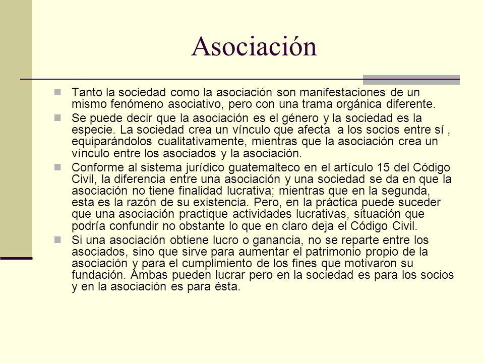 Asociación Tanto la sociedad como la asociación son manifestaciones de un mismo fenómeno asociativo, pero con una trama orgánica diferente. Se puede d